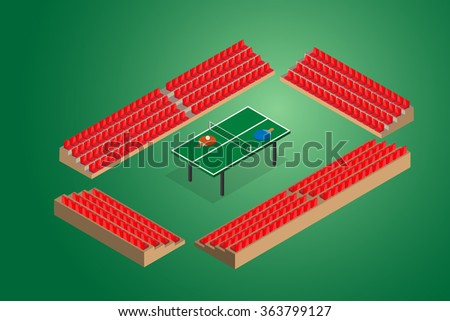 ping pong green table tennis with stadium seats vector illustration