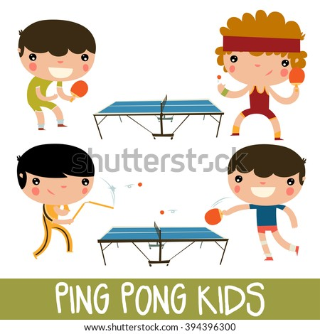 ping pong kids set. character playing table tennis with nunchuks.  sc 1 st  Shutterstock & Ping Pong Kids Set Character Playing Stock Vector HD (Royalty Free ...