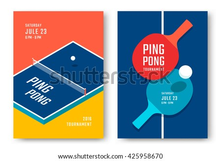Ping-pong posters design. Table and rackets for ping-pong. Vector illustration - stock vector