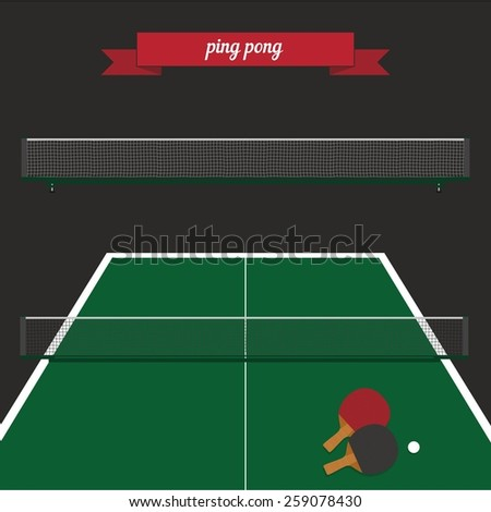 Ping pong rackets, ball and table. Flat style design - vector