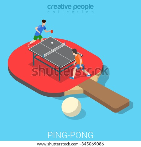 Ping Pong Table Tennis Flat 3d Isometry Isometric Sports Concept Web Vector  Illustration. Big