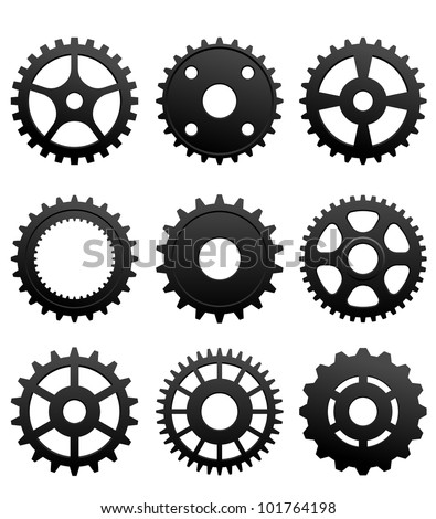 Pinions and gears set isolated on white background for machinery design. Jpeg version also available in gallery - stock vector