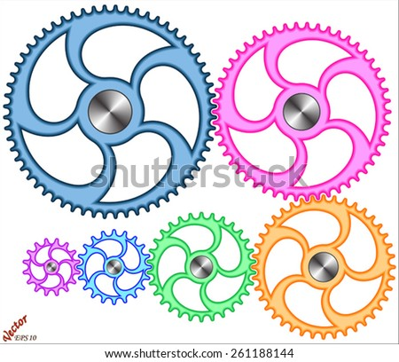 Pinions Mechanisms - stock vector