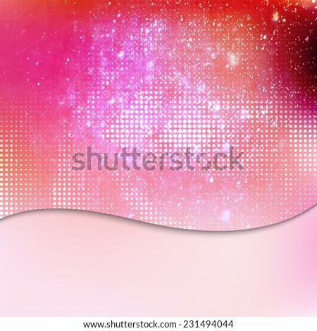 Pink abstract artistic textured card or invitation background with falling sparkles cosmic lighting effect and place for your text. - stock vector