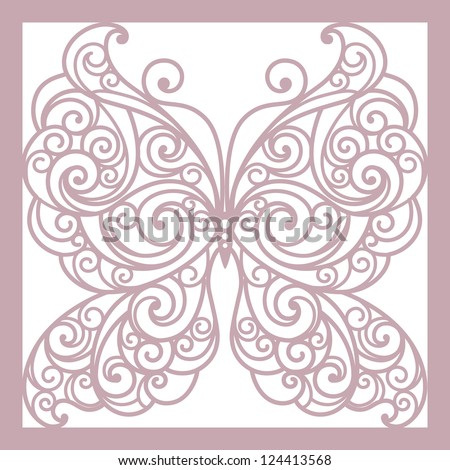 pink abstract  background with butterfly - stock vector