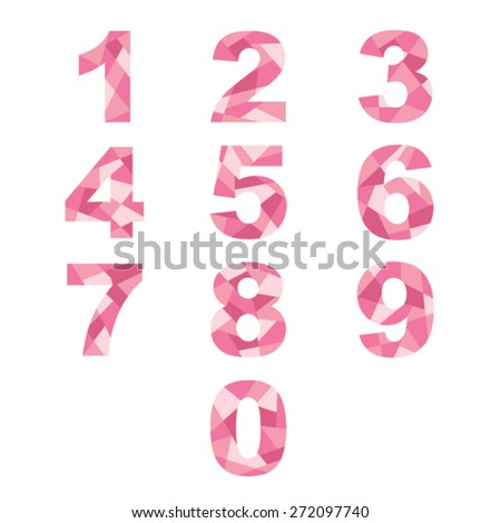 Pink abstract numbers. - stock vector