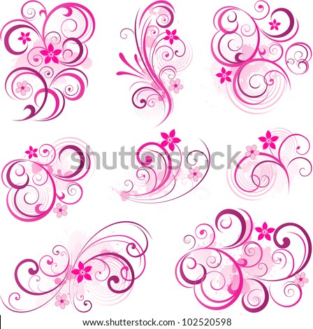 Pink abstract scroll flowers - stock vector