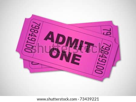 Pink admit one tickets - stock vector