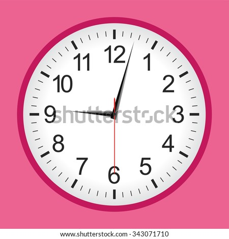 Pink analogue clock .Vector illustration. - stock vector