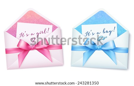 Pink and blue baby shower vector envelops with bows - stock vector