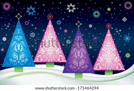 Tree life stock vector 160007279 shutterstock - Pink and blue christmas tree ...