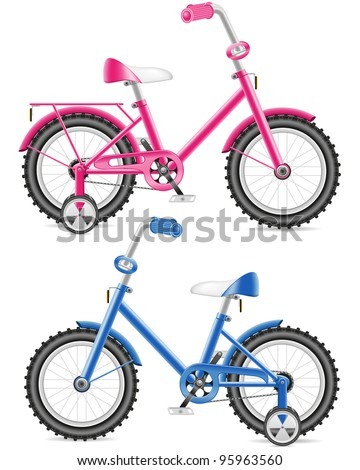 pink and blue kids bicycle vector illustration isolated on white background - stock vector