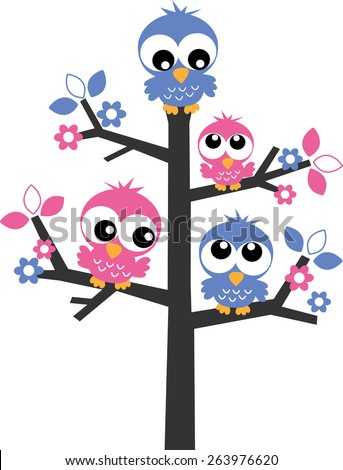 pink and blue owls in a tree - stock vector