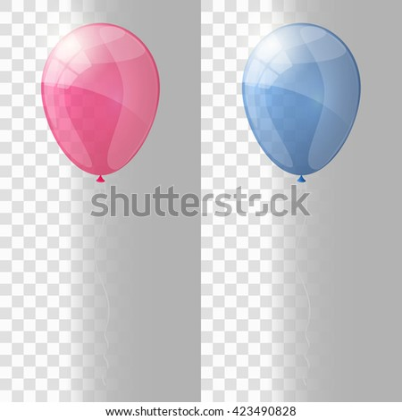 Pink and blue shiny glossy balloons. Transparent version of balloons. Vector illustration. - stock vector