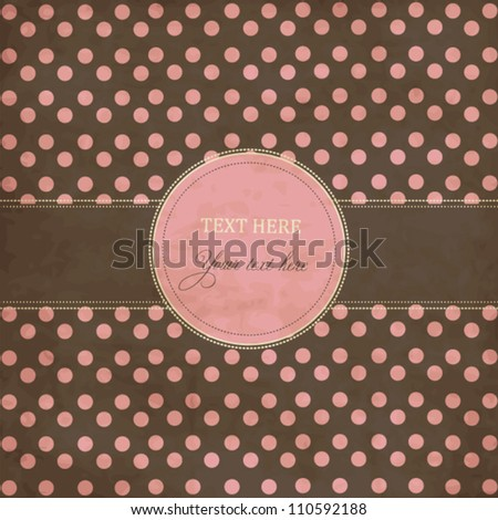 Pink and gray holiday scrap card with polka dot and frame