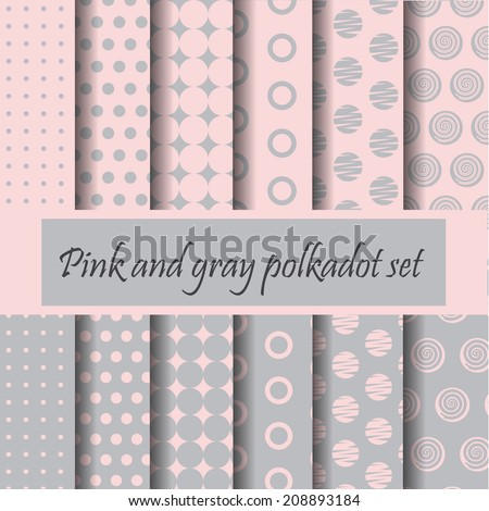 Pink and gray polkadot pattern set, vector with swatches    - stock vector