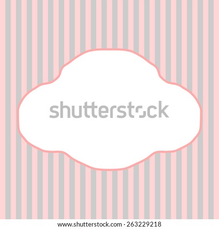 Pink and gray stripes with a large copy space in a cloud form in a square format