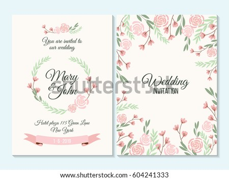 Pink green pastel wedding invitation thank stock vector 604241333 pink and green pastel wedding invitation thank you card save the date card with stopboris Image collections