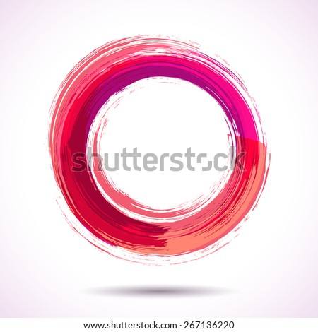Pink and marsala fashion themed watercolor ring - stock vector