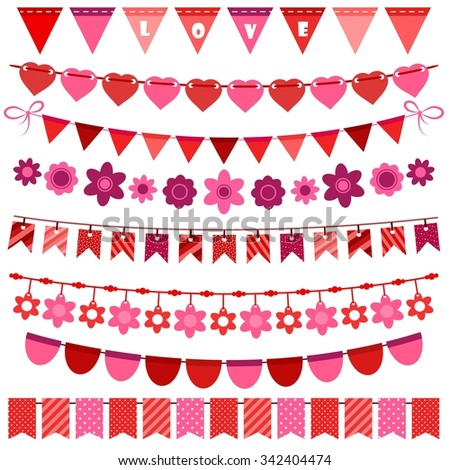 Pink and red bunting and garland set - stock vector
