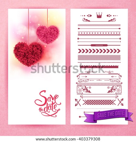 Pink and red fluffy heart decorations over save the date as stationery sheet beside panel of borders and icons - stock vector
