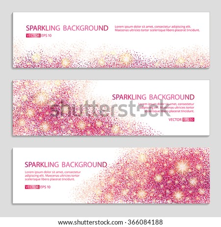 Pink and red sparkles white background, banners. Pink banner. Pink background. Red banner with text. Banners logo, web,  card, vip, exclusive, certificate, gift, luxury, voucher, store, shopping, sale - stock vector