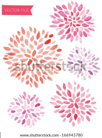Pink and Red Watercolor Vector Sunburst Flowers - stock vector
