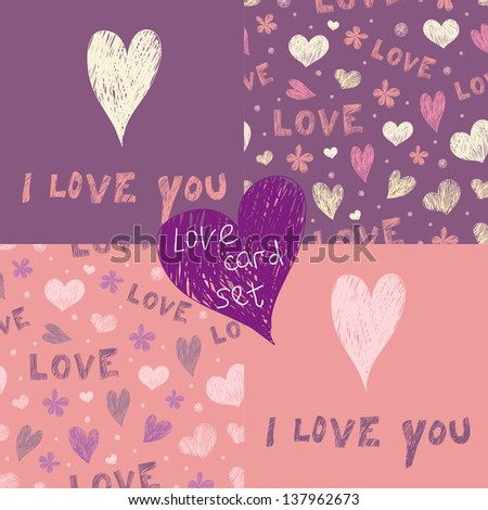 Pink and violet vector love card set