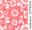 Pink and white floral crochet lacy seamless pattern, vector - stock photo