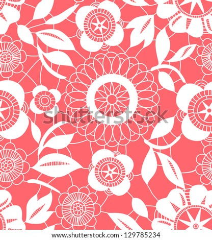 Pink and white floral crochet lacy seamless pattern, vector - stock vector