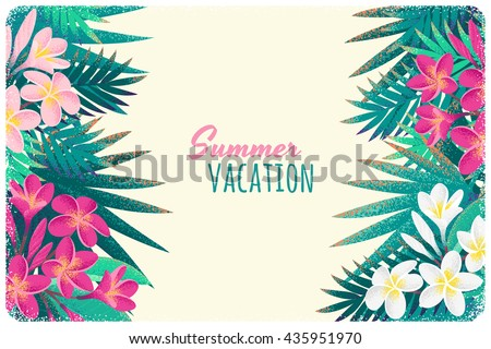 Pink and white frangipani (plumeria) flowers and palm leaves horizontal template. Retro vector illustration. Tropical background. Place for your text. Invitation, banner, card, poster, flyer design