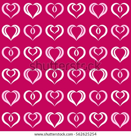 Pink and white hearts seamless pattern. Endless texture with hearts geometric ornament. Set of festive elements. Valentine's day and Woman's day background.
