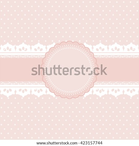 Pink and white polka dot background vintage style, Greeting card, template or background - stock vector