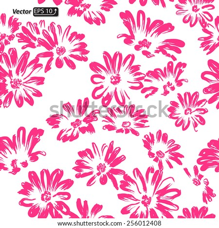 pink and white seamless pattern daisy flower watercolor Daisy Vector Flowers isolated on white background vector illustration - stock vector
