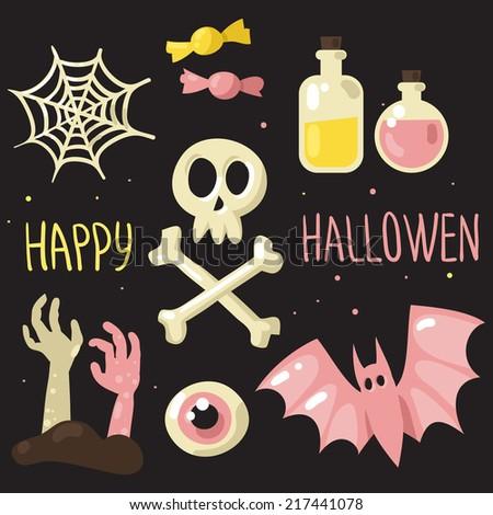 Pink and yellow colors Halloween symbols vector set, happy Halloween card - stock vector