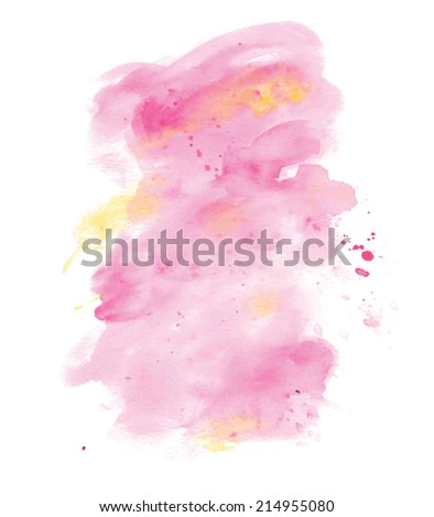 Pink and Yellow Watercolor paint background Vector - stock vector