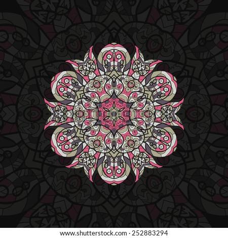 Pink arabian mandala. Template for menu, greeting card, invitation or cover. - stock vector