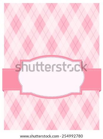 pink argyle / harlequin background with frame. specially for baby themed / mother's day or any occasion greeting cards - stock vector