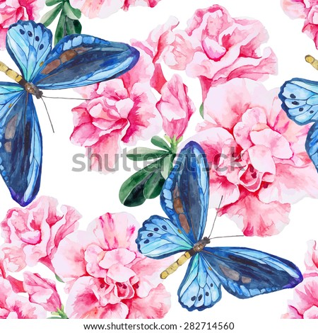 Pink Azalea and blue butterflies. Seamless, hand painted, watercolor pattern. Vector background - stock vector