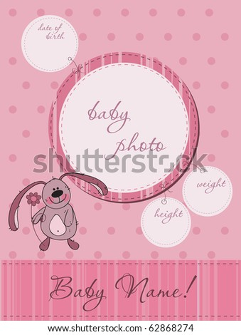 Pink Baby announcement card with Frame - stock vector