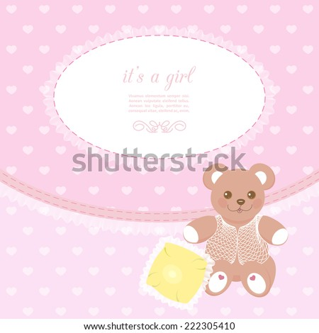 pink baby frame with teddy bear and small pillow