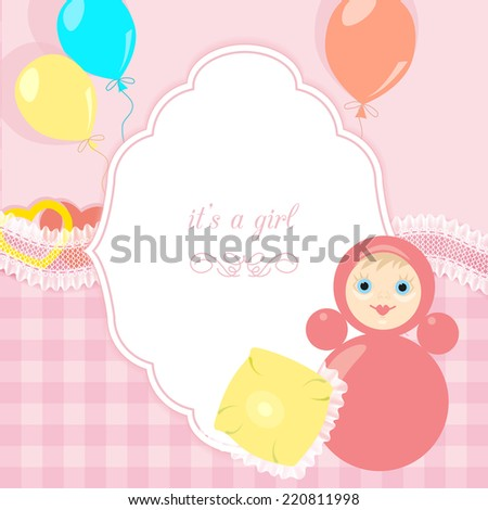 pink baby frame with toy, small pillow, balloons - stock vector