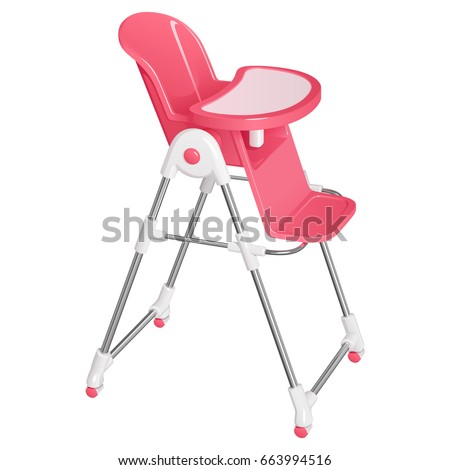 Pink Baby Highchair For Kids Feeding, With A Removable Table, On Wheels,  Isolated