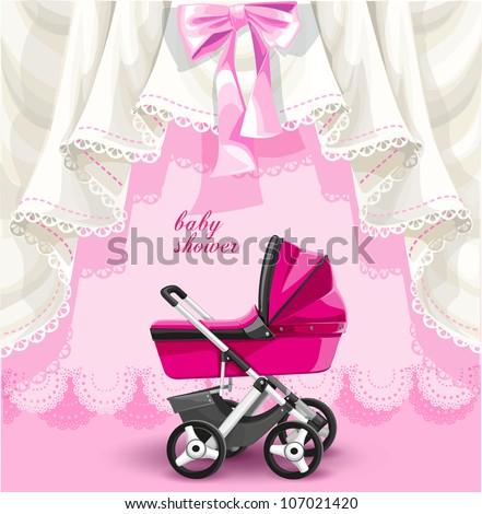 Pink baby shower card with baby carriage - stock vector