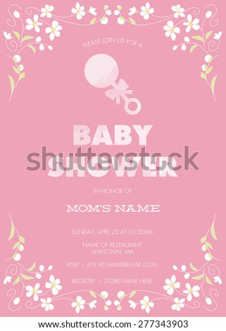 Pink baby shower invitation template girl stock vector 277343903 pink baby shower invitation template for girl with flower border and rattle vector filmwisefo