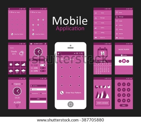 Pink Background Mobile App Android Flat Interface - stock vector
