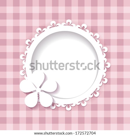 pink background with a frame (a seamless pattern and a seamless lace are included in the palettes)  - stock vector