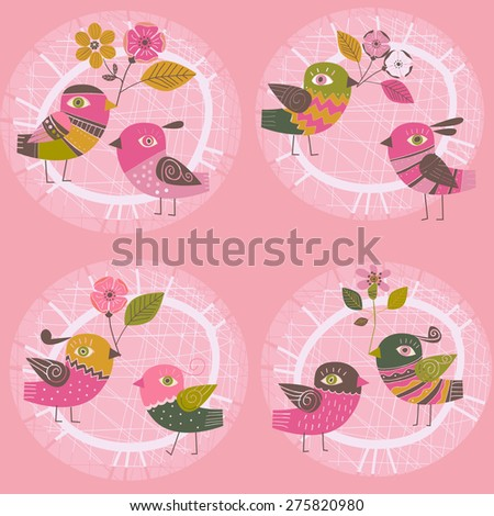 pink background with birds and flowers - stock vector