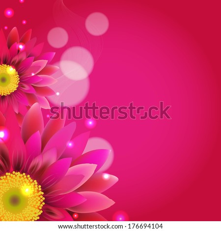 Pink Background With Gerbers, With Gradient Mesh, Vector Illustration - stock vector