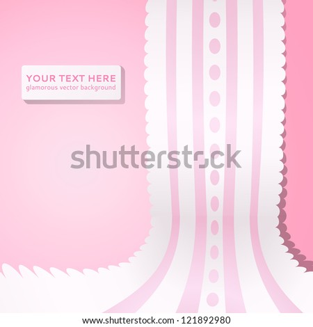 Pink background with vintage realistic pink and white lace. Vector illustration for your lovely design. Abstract holiday picture.